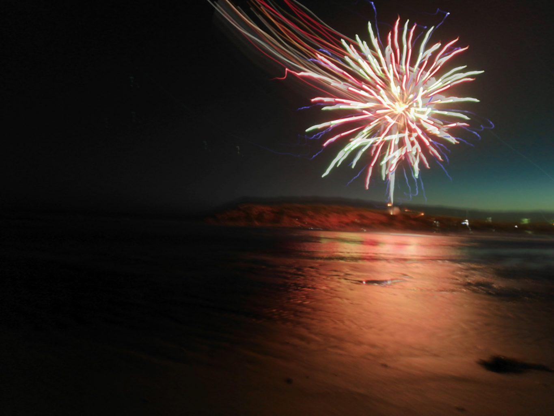 Fireworks on Ocean Grove beach on New-Year-near the Bluff